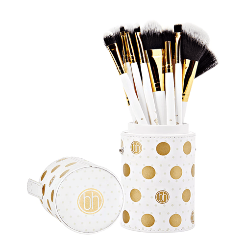 BH White Dotted Makeup Brushes Set - 11 brushes