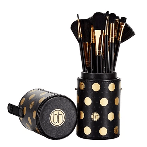 BH Black Dotted Makeup Brushes Set - 11 brushes